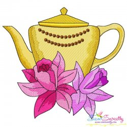 Teapot And Flowers-10 Embroidery Design