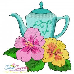 Teapot And Flowers-9 Embroidery Design