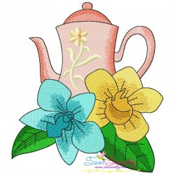 Teapot And Flowers-8 Embroidery Design