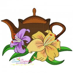 Teapot And Flowers-7 Embroidery Design