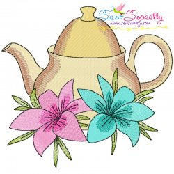 Teapot And Flowers-6 Embroidery Design