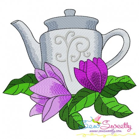 Teapot And Flowers-5 Embroidery Design Pattern- Category- Kitchen and Food Designs- 1