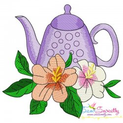Teapot And Flowers-4 Embroidery Design
