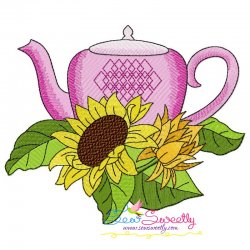 Teapot And Flowers-3 Embroidery Design