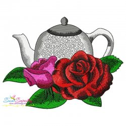 Teapot And Flowers-2 Embroidery Design