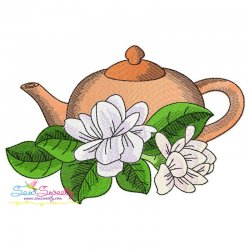 Teapot And Flowers-1 Embroidery Design