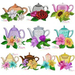 Teapot And Flowers Embroidery Design Bundle