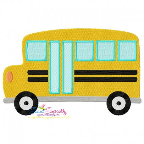 School Bus-2 Embroidery Design Pattern- Category- Back To School Designs- 1