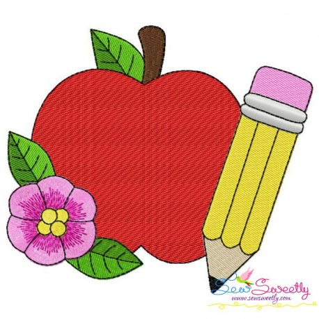 Apple Pencil Flower-2 Embroidery Design Pattern- Category- Back To School Designs- 1