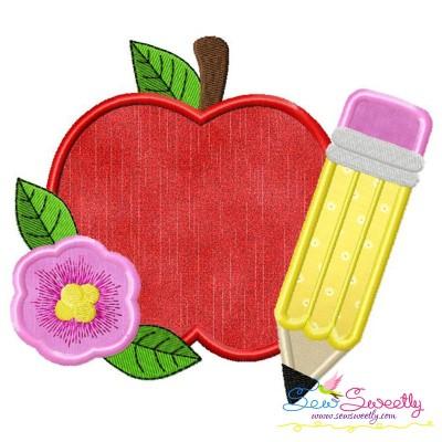 Apple Pencil Flower-2 Applique Design Pattern- Category- Back To School Designs- 1