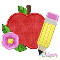 Apple Pencil Flower-2 Applique Design