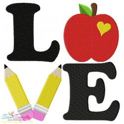 Love School Lettering Embroidery Design Pattern- Category- Back To School Designs- 1