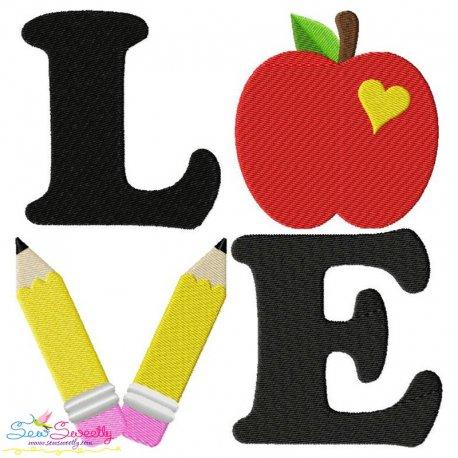 Love School Lettering Embroidery Design
