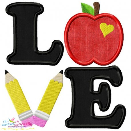 Love School Lettering Applique Design