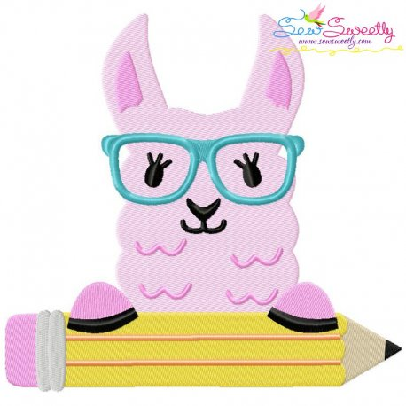 Llama Glasses Pencil Embroidery Design Pattern- Category- Back To School Designs- 1