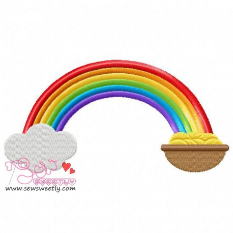 St. Patrick's Day Pot of Gold With Rainbow Embroidery Design Pattern- Category- St. Patrick's Day Designs- 1