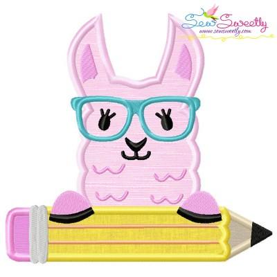 Llama Glasses Pencil Applique Design Pattern- Category- Back To School Designs- 1