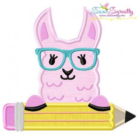 Llama Glasses Pencil Applique Design