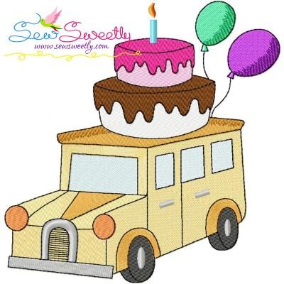Birthday Cake Car Embroidery Design