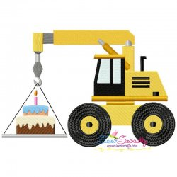 Birthday Cake Crane Embroidery Design Pattern- Category- Birthday And Occasions- 1