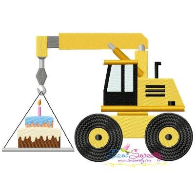 Birthday Cake Crane Embroidery Design