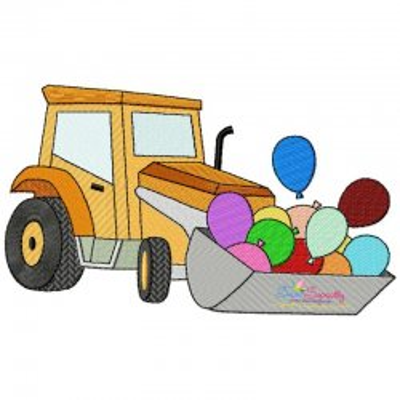 Birthday Balloons Bulldozer Embroidery Design