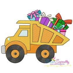 Birthday Gifts Dump Truck Embroidery Design