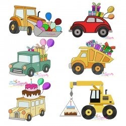 Birthday Transportation Embroidery Design Bundle
