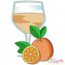 Orange Juice Glass Embroidery Design Pattern- Category- Summer And Spring Season- 1