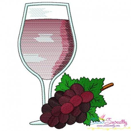 Grape Juice Glass Embroidery Design