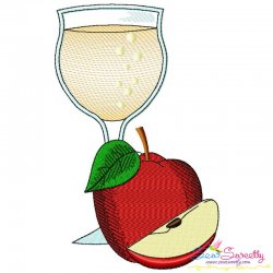 Apple Juice Glass Embroidery Design