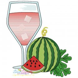 Watermelon Juice Glass Embroidery Design Pattern- Category- Summer And Spring Season- 1