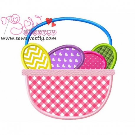 Easter Basket With Eggs Applique Design