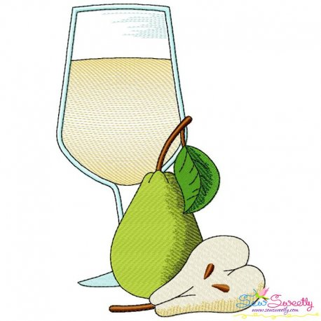 Pear juice Glass Embroidery Design