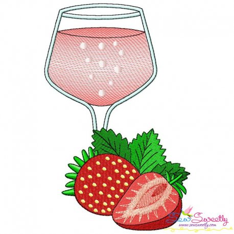 Strawberry Juice Glass Embroidery Design