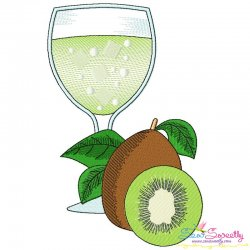 Kiwi Juice Glass Embroidery Design