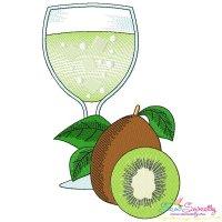 Kiwi Juice Glass Embroidery Design