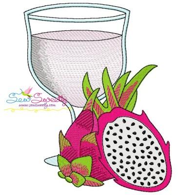 Dragon Fruit (Pitaya) Juice Glass Embroidery Design