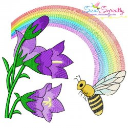Bee Flowers And Rainbow-10 Embroidery Design