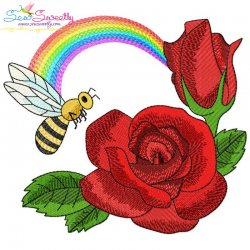 Bee Flowers And Rainbow-9 Embroidery Design