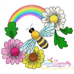Bee Flowers And Rainbow-8 Embroidery Design