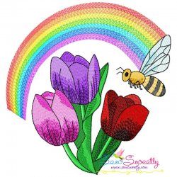 Bee Flowers And Rainbow-7 Embroidery Design