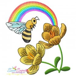 Bee Flowers And Rainbow-6 Embroidery Design