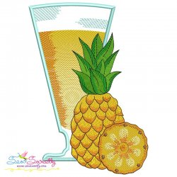 Pineapple Juice Glass Embroidery Design Pattern- Category- Summer And Spring Season- 1