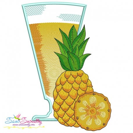 Pineapple Juice Glass Embroidery Design