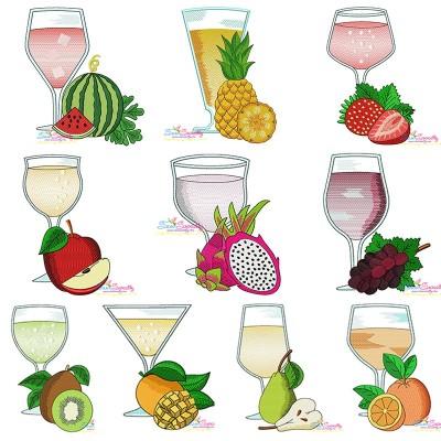 Fruit Juice Glasses Embroidery Design Bundle