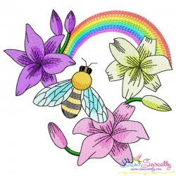 Bee Flowers And Rainbow-5 Embroidery Design