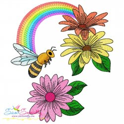 Bee Flowers And Rainbow-3 Embroidery Design