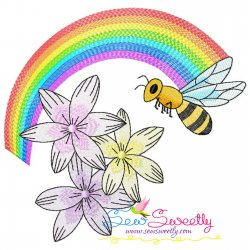 Bee Flowers And Rainbow-2 Embroidery Design