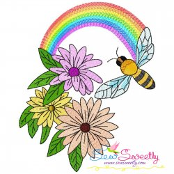 Bee Flowers And Rainbow-1 Embroidery Design